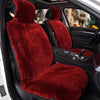 Wine Red Short Wool Car 2 Front Seat Covers