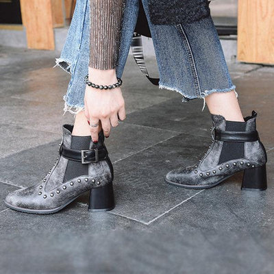 Pointed Toe Beads Buckle Strap Boots