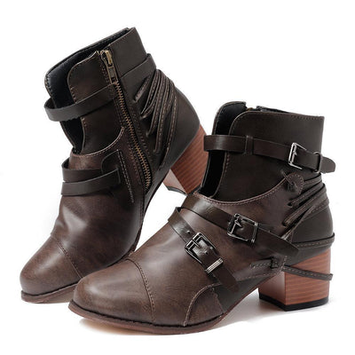 Bandage Stripes Zipper Ankle Boots