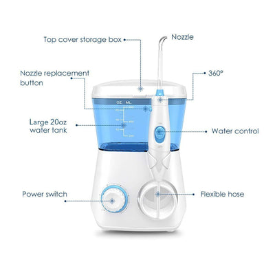 Electric Oral Irrigator With 9 Multifunctional Jet Tips