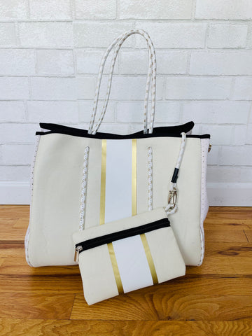 Neoprene Bag - Cream w/Gold