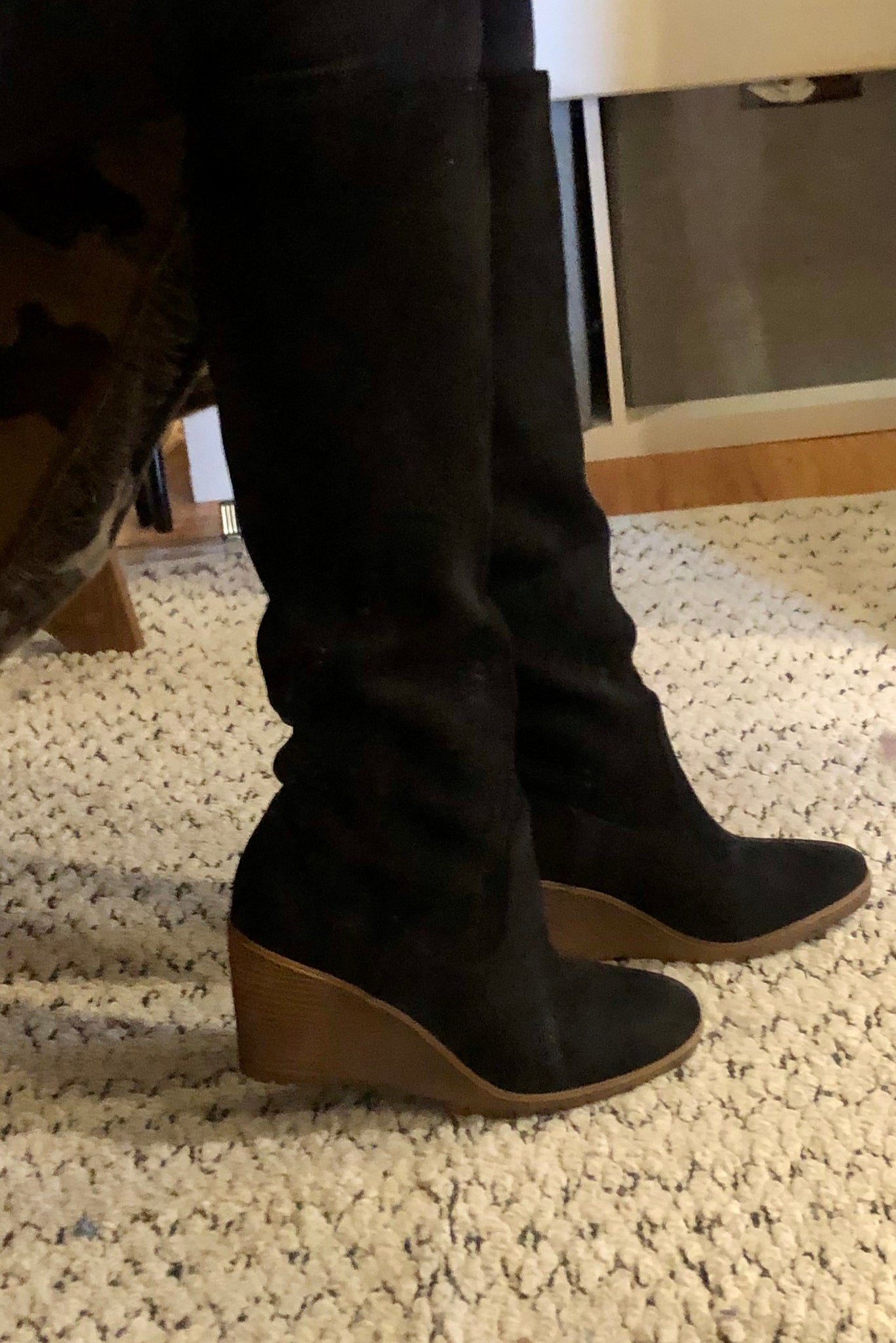 Tall Wedge Boot-Black