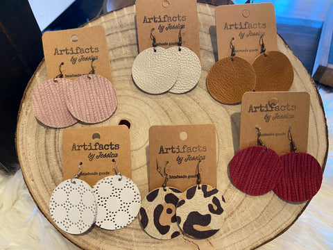 Leather Earrings-Circle