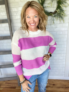Sully Striped Crewneck Sweater-Orchid