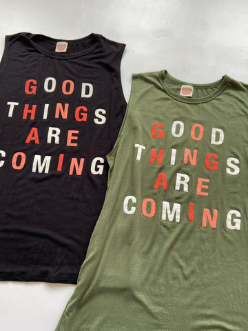 Good Things Are Coming Tank-Olive