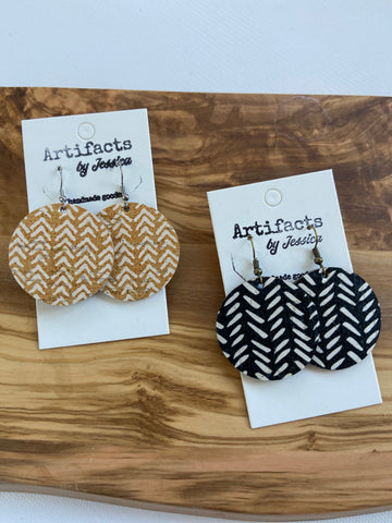 Leather Earrings-Circle Chevron