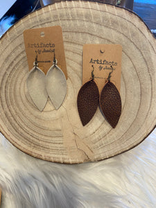 Leather Earrings-Feather