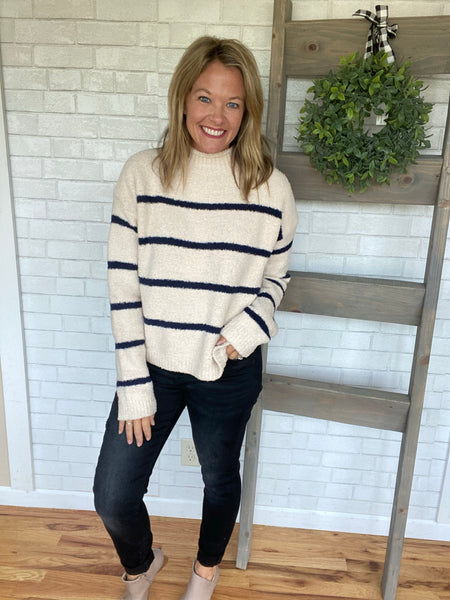 Rue Striped Sweater-Taupe