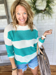 Sully Striped Crewneck Sweater-Jade