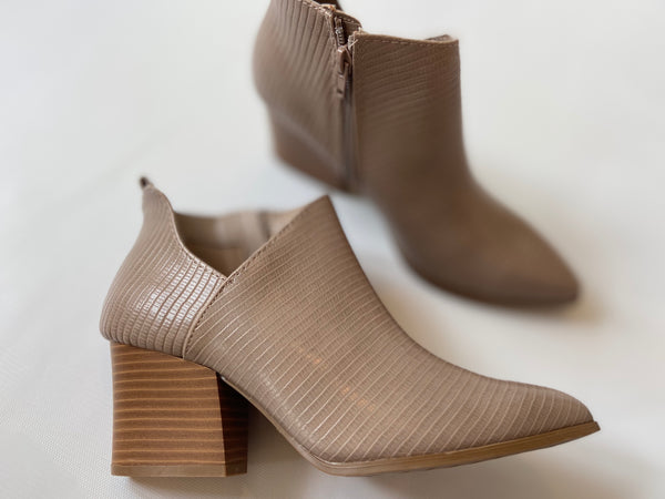 Taupe Lizzard Bootie