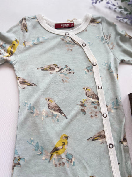 Footed Romper-Blue Bird