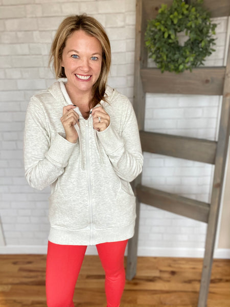 Donna Terry Knit Hoodie Jacket-Oatmeal