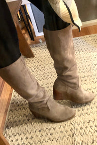 Tall Wedge Boot-Grey