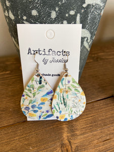 Blue Print Cork Earrings-Tear Drop