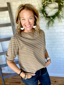 Trudy Striped Top - Mocha