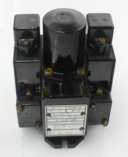 Magnetic Switch 9A D9124 5CW/4388 29VDC M.B.Metals 1966 RAF Vintage Aircraft