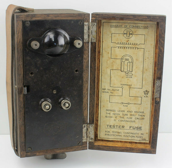 Pyrotechnic Ignition Fuse Tester Box 5G/1142 Air Ministry RAF Vintage Aircraft