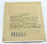 Resistor, Fixed Film, 4,700 Ohms +/- 1% 5905-284-2502 Mcguire 5875-5 Ex-RAF