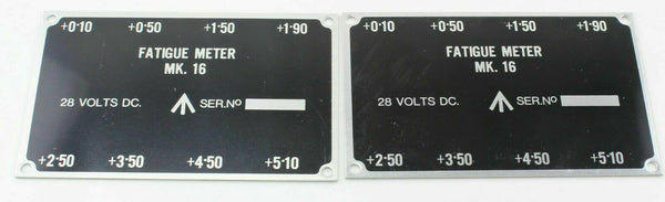 2x R.A.E. Fatigue Meter Mk16 ID Plate Panel Label RAF Vintage Aircraft Part