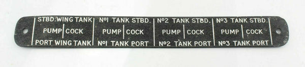 Standby Fuel Tank Pump Cock Panel Starboard Port Ex-RAF Vintage Aircraft Spare