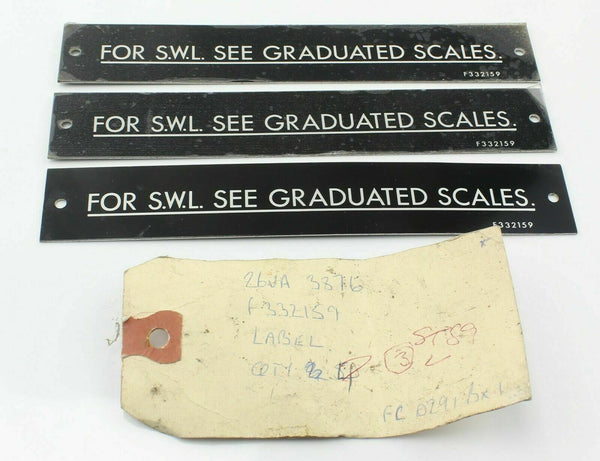 3x SWL Panel Plate Label Hawker BAe Harrier 26VA/3876 F332159 RAF AIrcraft Part