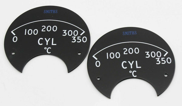 2 x Smiths CYL (Cylinder) Celsius Dial Fascia Face Plate Instrument MV453 1970