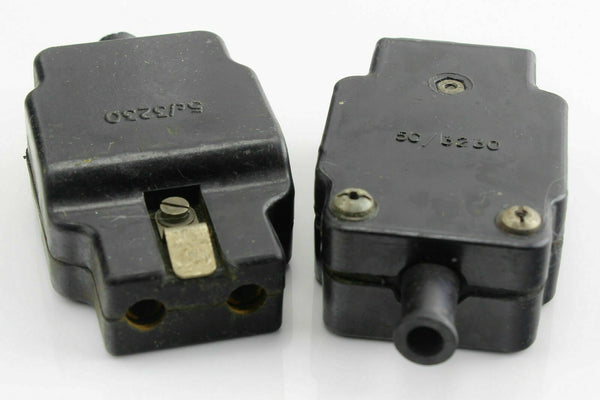 2 x Electrical Plug 2 Hole 5C/3230 RAF Air Ministry Vintage Aircraft Spare