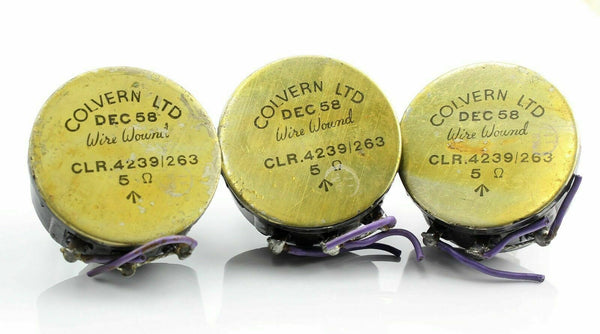 3 x Potentiometers Colvern 5 Ohm 1958 CLR.4239/263 RAF Vintage Aircraft Spare