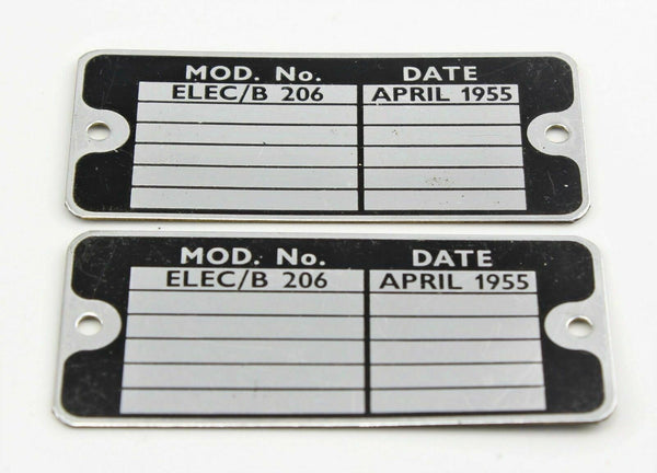 2 x MOD Identification Plate ELEC/B 206 April 1955 5UC/8781 RAF Vintage Aircraft