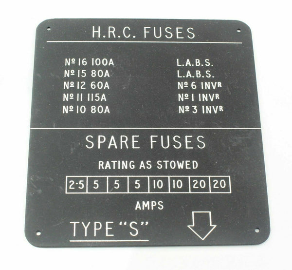 English Electric Canberra Fuse Panel Label EA9.81.3519 27397 Vintage Aircraft