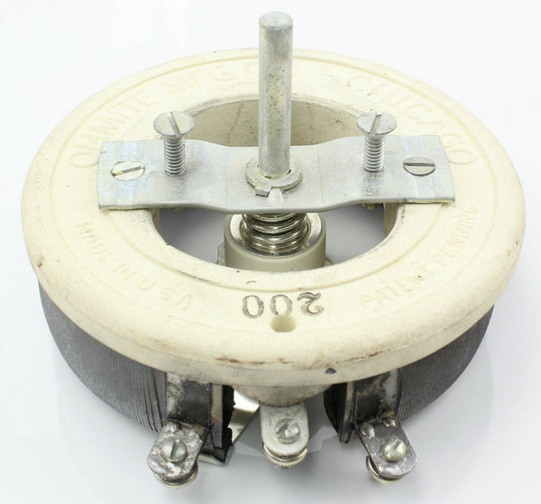 Potentiometer Ohmite Model N SE0663 200Ohm 1.22A 600V Variable Resistor Ex-RAF