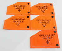 5 x Ex MOD RAF Operating Handle Tag Flag Tarpaulin Broad Arrow Vintage Coaster