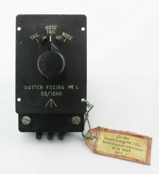 Fuzing (Fusing) Switch Unit Mk1 Bomb Nose/Tail 5D/1566 RAF Vintage Aircraft Part