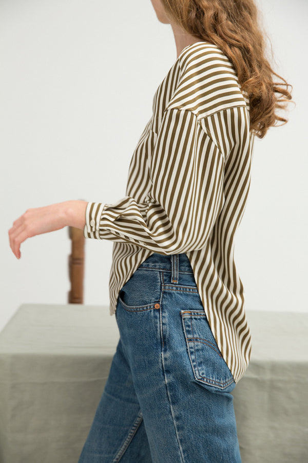 Shirt No. 25: (Khaki Silk Stripe)