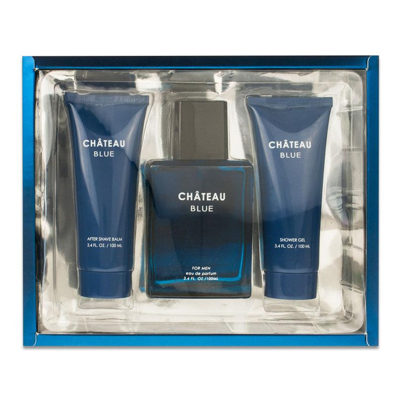 SANDORA COLLECTION - Sandora Chateau Blue para hombre / SET - 100 ml Eau De Parfum Spray + 100 ml Shower Gel + 20 ml Travel EDP