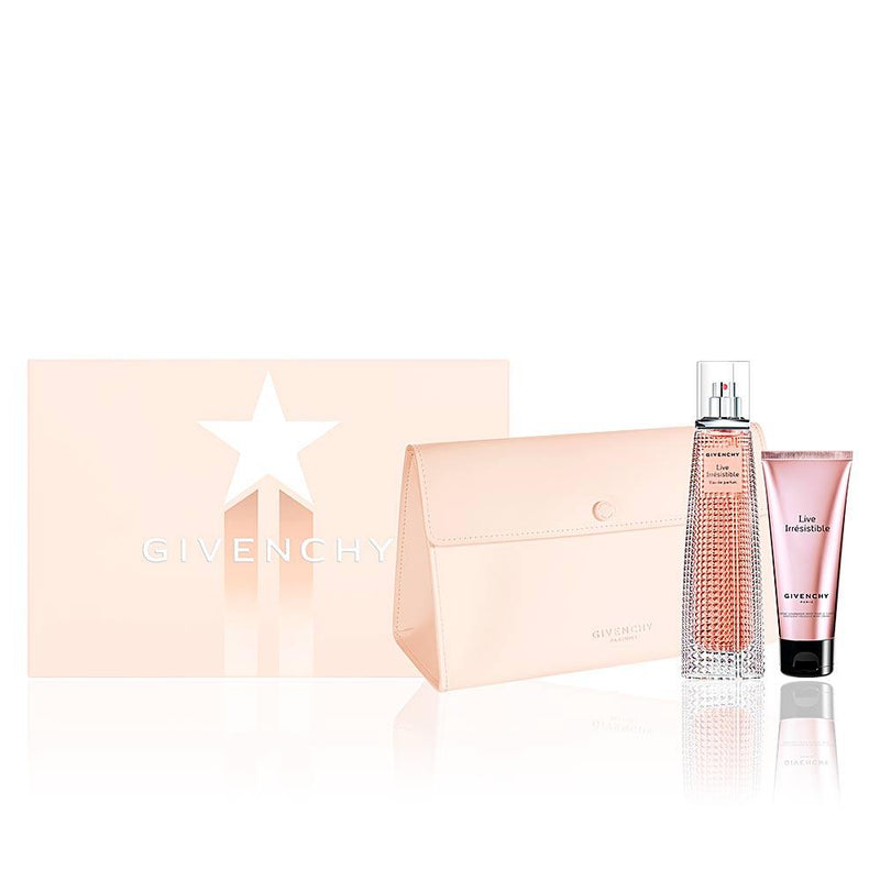 GIVENCHY - Live Irrésistible para mujer / SET - 75 ml Eau De Parfum Spray + 75 ml Body Lotion + Cosmetiquera
