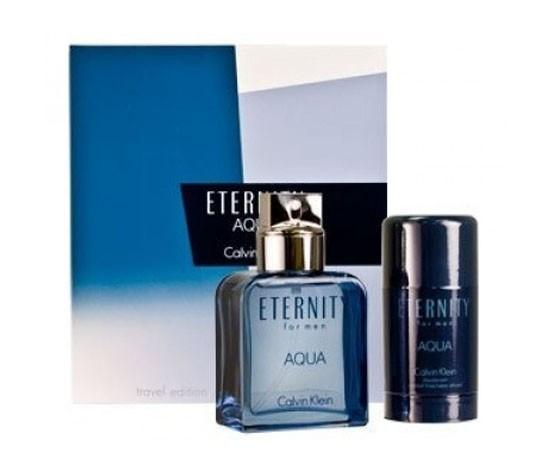 CALVIN KLEIN - Eternity Aqua para hombre / SET - 100 ml Eau De Toilette Spray + 75 gr. Alcohol Free Dedorant Stick