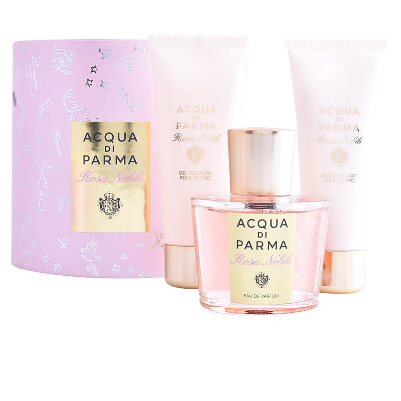 ACQUA DI PARMA - Acqua Di Parma Rosa Nobile para mujer / SET - 100 ml Eau De Parfum Spray + 75 ml Gel de baño + 75 ml Crema corporal