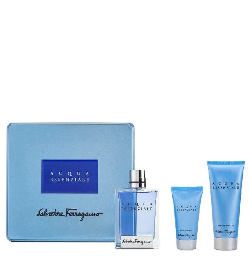 SALVATORE FERRAGAMO - Acqua Essenziale para hombre / SET - 100 ml Eau De Toilette Spray + 100 ml Shower Gel + 100 ml After Shave Balm
