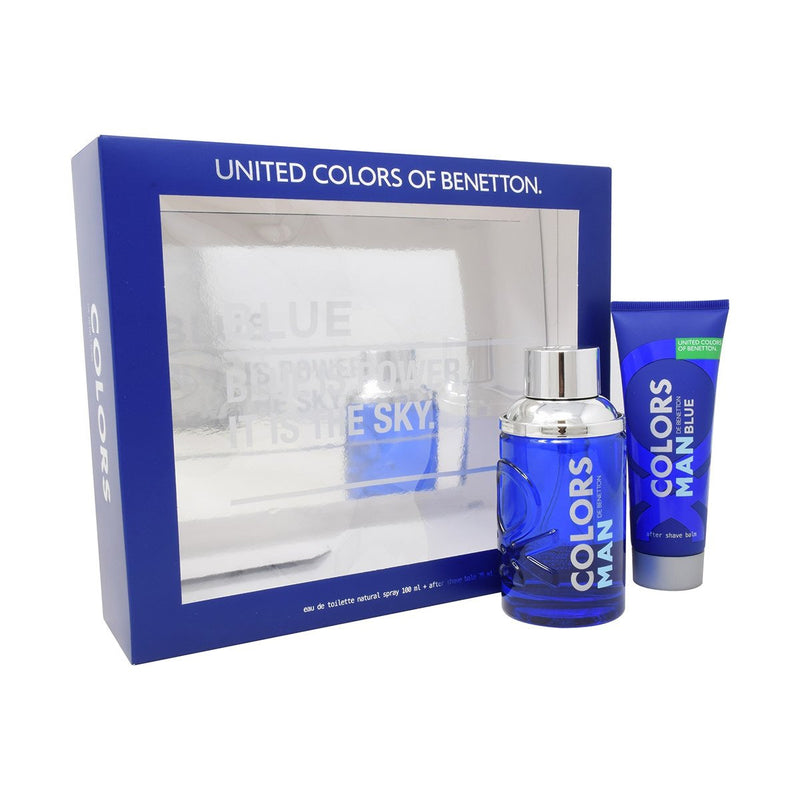 BENETTON - Colors Blue Man para hombre / SET - 100 ml Eau De Toilette Spray + 75ml After Shave