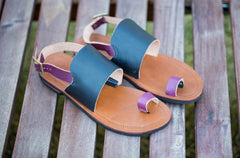 Chrome-Free Leather Sandals with Recycled Tire Soles - Magenta