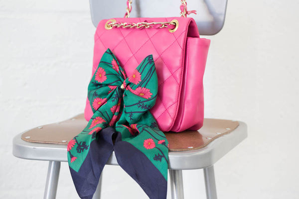 Quilted Hot Pink Purse with Vintage Scarf - Handmade in London with Vintage Leathers