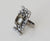 Paved Art Deco Ring - Antique Silver, Marcasite and Black Diamond Swarovski