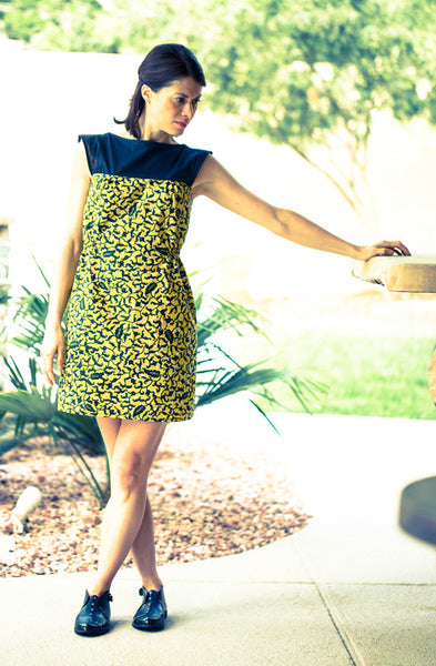 African Cotton Éthiopique Dress in Yellow Java Leaf