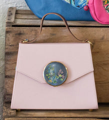 Peggy Handbag in Blush with Antique Compact, Handmade in London with Vintage Leather