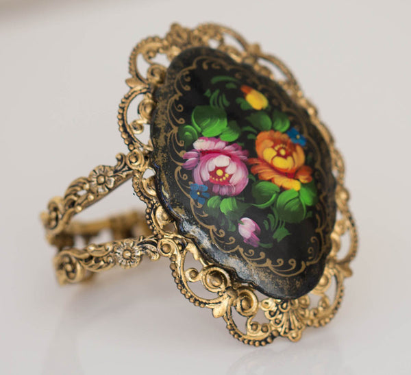 Antique Gold and Russian Painting Bracelet
