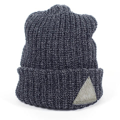 Charcoal Heather Knit Beanie Toque with Pony Hair Triangle