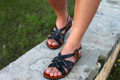 Two-Toned Black and Brown Leather Sandals
