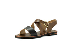 Chunky Two-Toned Black and Brown Leather Sandals