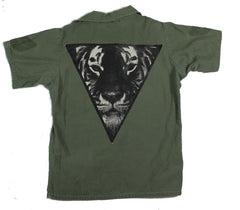 Short-Sleeve Army Green Button Down: The Tiger